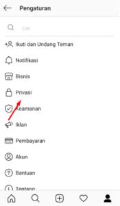 menu privasi