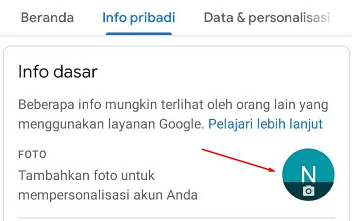 mengganti foto profil gmail