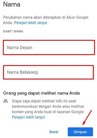 cara mengganti nama gmail